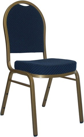 HERCULES Series Dome Back Navy Blue Stacking Banquet Chair with Gold Frame