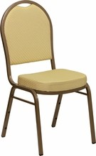 HERCULES Series Dome Back Stacking Banquet Chair with Beige Patterned Fabric and 2.5'' Thick Seat - Gold Frame