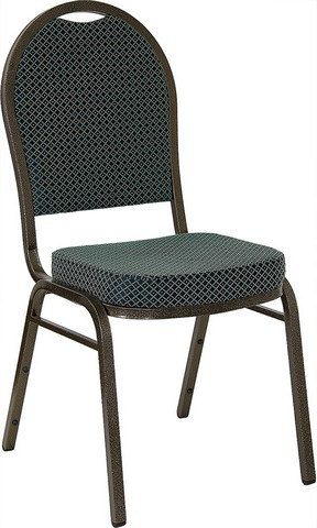HERCULES Series Dome Back Stacking Banquet Chair with Gold Vein Frame