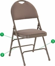 Flash Furniture HA-MC705AF-3-BGE-GG HERCULES Series Extra Large Ultra-Premium Triple Braced Beige Fabric Metal Folding Chair with Easy-Carry Handle