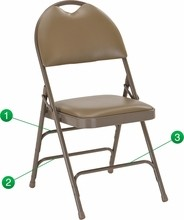 HERCULES Series Extra Large Ultra-Premium Triple Braced Beige Vinyl Metal Folding Chair with Easy-Carry Handle