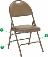Flash Furniture HA-MC705AV-3-BGE-GG HERCULES Series Extra Large Ultra-Premium Triple Braced Beige Vinyl Metal Folding Chair with Handle