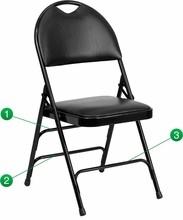 Flash Furniture HA-MC705AV-3-BK-GG HERCULES Series Extra Large Ultra-Premium Triple Braced Black Vinyl Metal Folding Chair with Handle