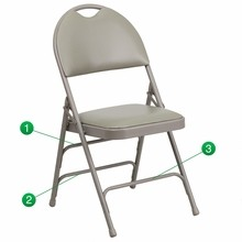HERCULES Series Extra Large Ultra-Premium Triple Braced Gray Vinyl Metal Folding Chair with Easy-Carry Handle