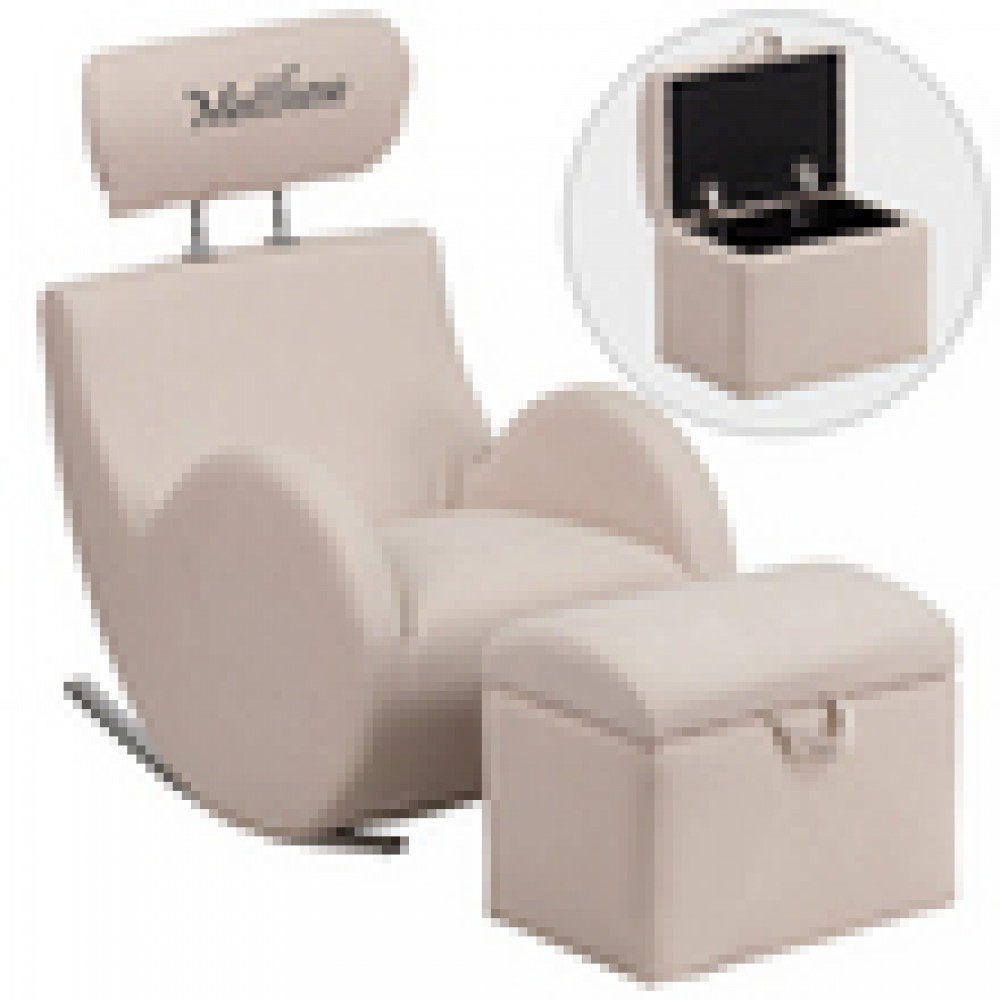 Flash Furniture LD-2025-gg HERCULES Series Fabric Rocking Chair with Storage Ottoman