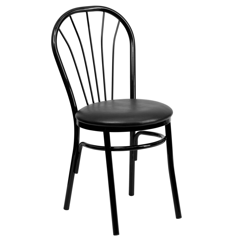 HERCULES Series Fan Back Metal Chair - Black Vinyl Seat