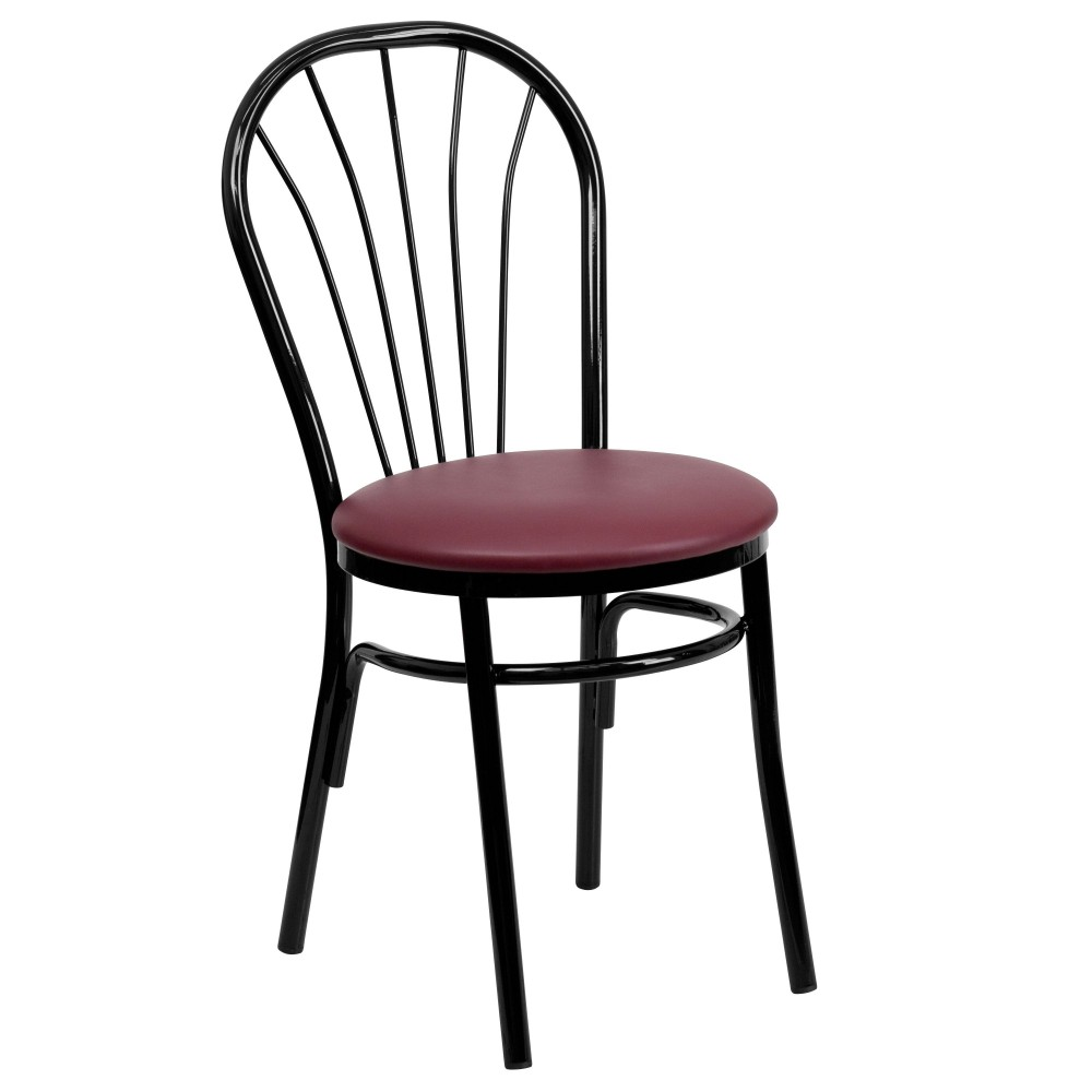 Flash Furniture XU-698B-BGV-GG HERCULES Series Fan Back Metal Chair Burgundy Vinyl Seat