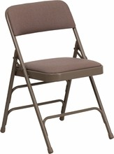 Flash Furniture HA-MC309AF-BGE-GG HERCULES Series Curved Triple Braced and Double Hinged Beige Fabric Metal Folding Chair
