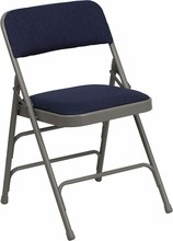 Flash Furniture HA-MC309AF-NVY-GG HERCULES Series Curved Triple Braced and Double Hinged Fabric Upholstered Metal Folding Chair Navy