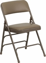 Flash Furniture HA-MC309AV-BGE-GG HERCULES Series Premium Triple Braced, Double Hinged, Beige Vinyl, Metal Folding Chair