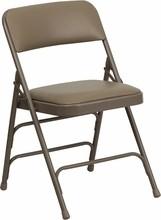 Flash Furniture HA-MC309AV-BGE-GG HERCULES Series Premium Triple Braced and Double Hinged Beige Vinyl Metal Folding Chair