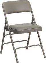 Flash Furniture HA-MC309AV-GY-GG HERCULES Series Curved Triple Braced and Double Hinged Gray Vinyl Metal Folding Chair