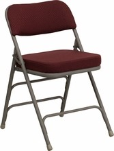 Flash Furniture HA-MC320AF-BG-GG HERCULES Series Premium Curved Triple Braced & Double Hinged Burgundy Fabric Upholstered Metal Folding Chair