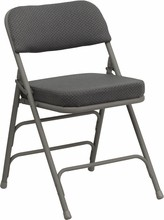 "Flash Furniture HA-MC320AF-GRY-GG HERCULES Series Premium Triple Braced, Double Hinged, Gray Fabric, Metal Folding Chair 2 1/2"" Thick Seat"