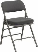 Flash Furniture HA-MC320AF-GRY-GG HERCULES Series Premium Triple Braced and Double Hinged Gray Fabric Metal Folding Chair