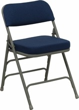 Flash Furniture HA-MC320AF-NVY-GG HERCULES Series Premium Curved Triple Braced and Double Hinged Navy Fabric Metal Folding Chair