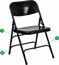 HERCULES Series Premium Curved Triple Braced & Quad Hinged Black Metal Folding Chair