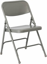HERCULES Series Premium Gray Commercial All-Steel DOUBLE-HINGED Folding Chair