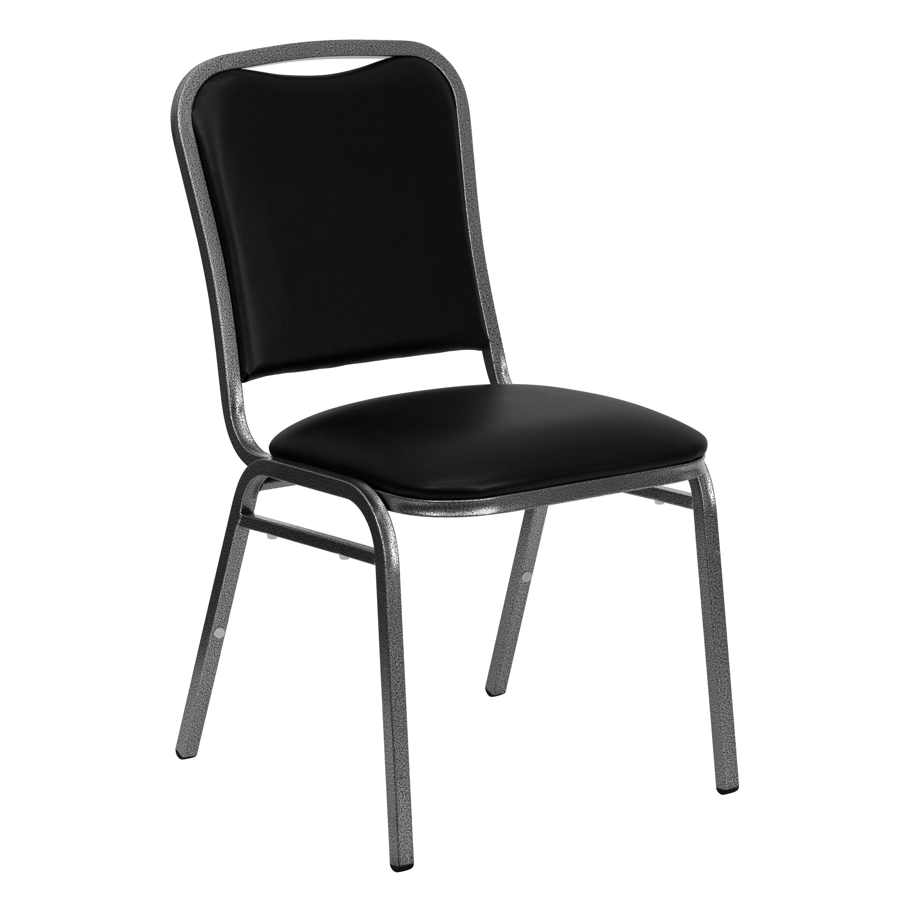 HERCULES Series Stacking Banquet Chair with Black Vinyl and 1.5'' Thick Seat - Silver Vein Frame