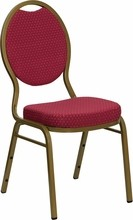 HERCULES Series Teardrop Back Stacking Banquet Chair with Burgundy Patterned Fabric and 2.5'' Thick Seat - Gold Frame