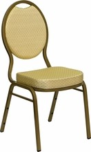 Flash Furniture FD-C04-ALLGOLD-2811-GG HERCULES Series Teardrop Back Stacking Banquet Chair with Beige Patterned Fabric/Gold Frame