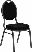 Flash Furniture FD-C04-SILVERVEIN-S076-GG HERCULES Series Teardrop Back Stacking Banquet Chair with Black Patterned Fabric/Silver Vein Frame