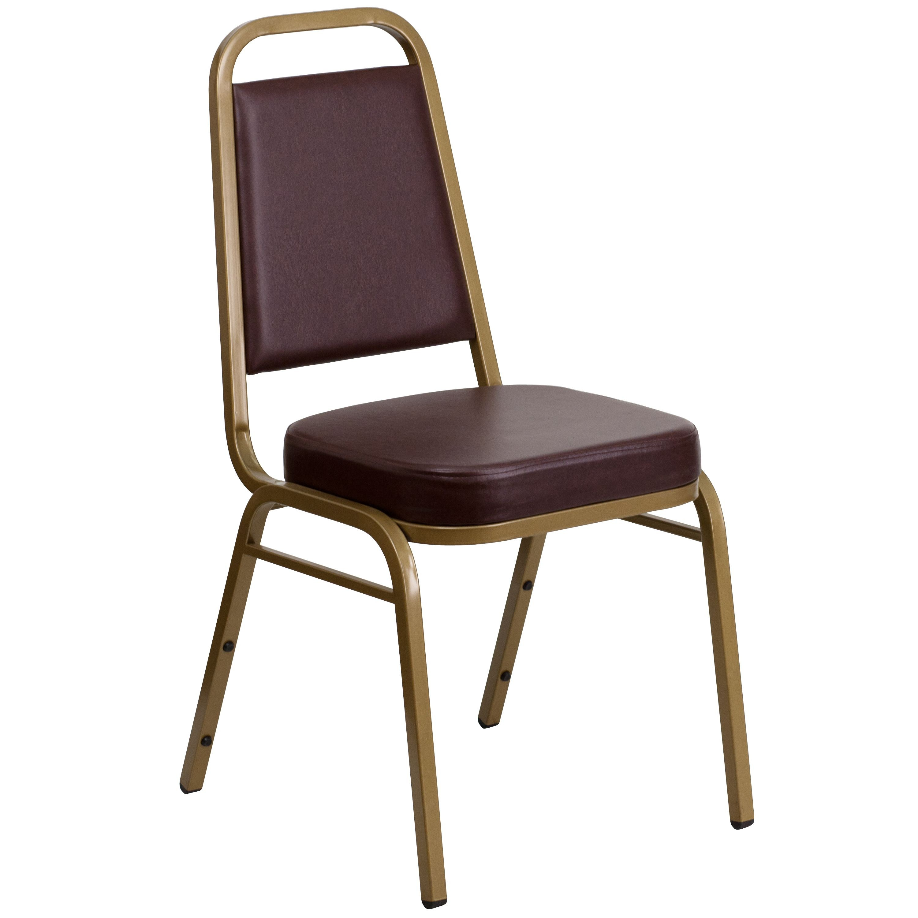 Flash Furniture FD-BHF-1-ALLGOLD-BK-GG HERCULES Series Trapezoidal Back Brown Vinyl Stacking Banquet Chair with Gold Frame