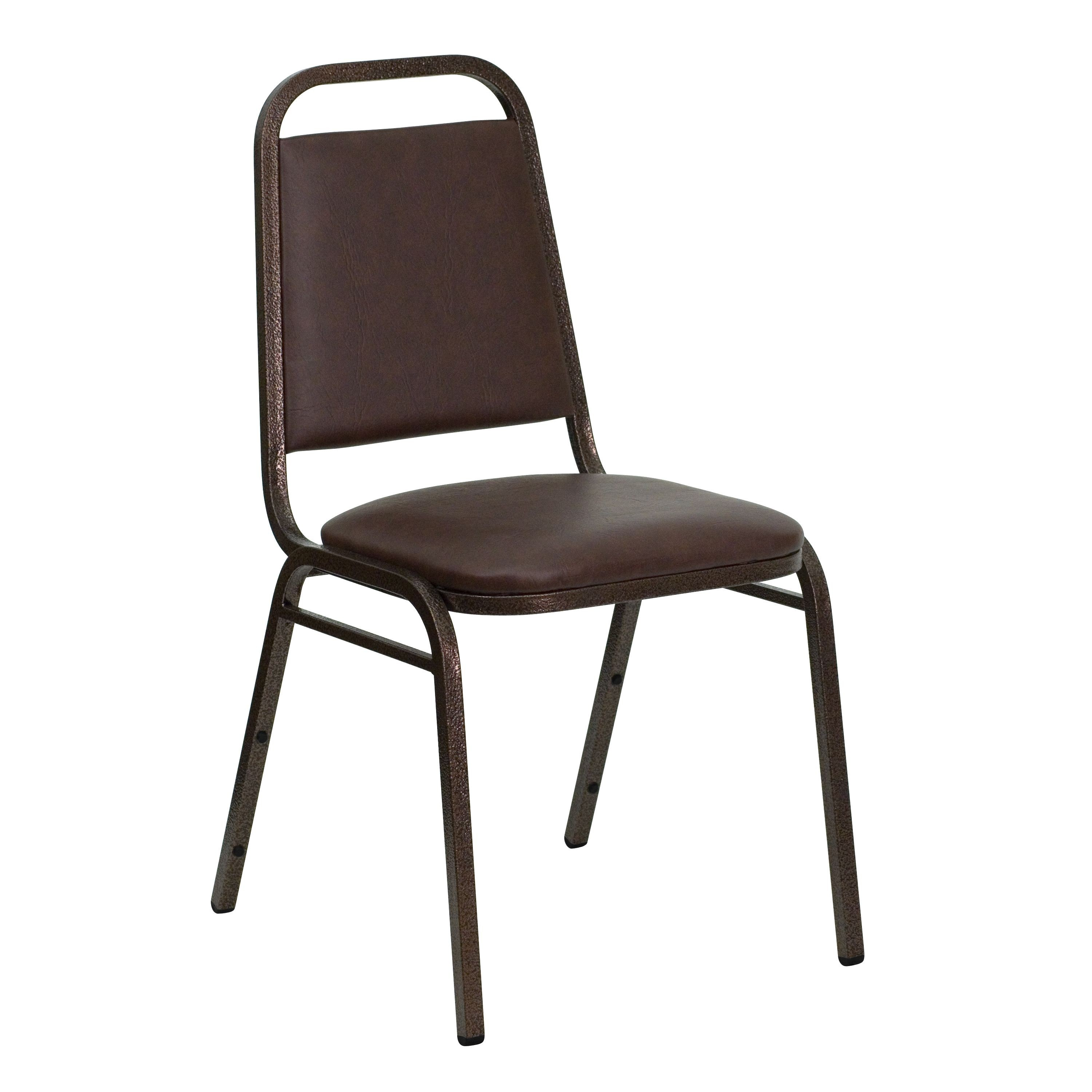 Flash Furniture FD-BHF-2-BN-GG HERCULES Series Trapezoidal Back Brown Vinyl Stacking Banquet Chair with Copper Vein Frame