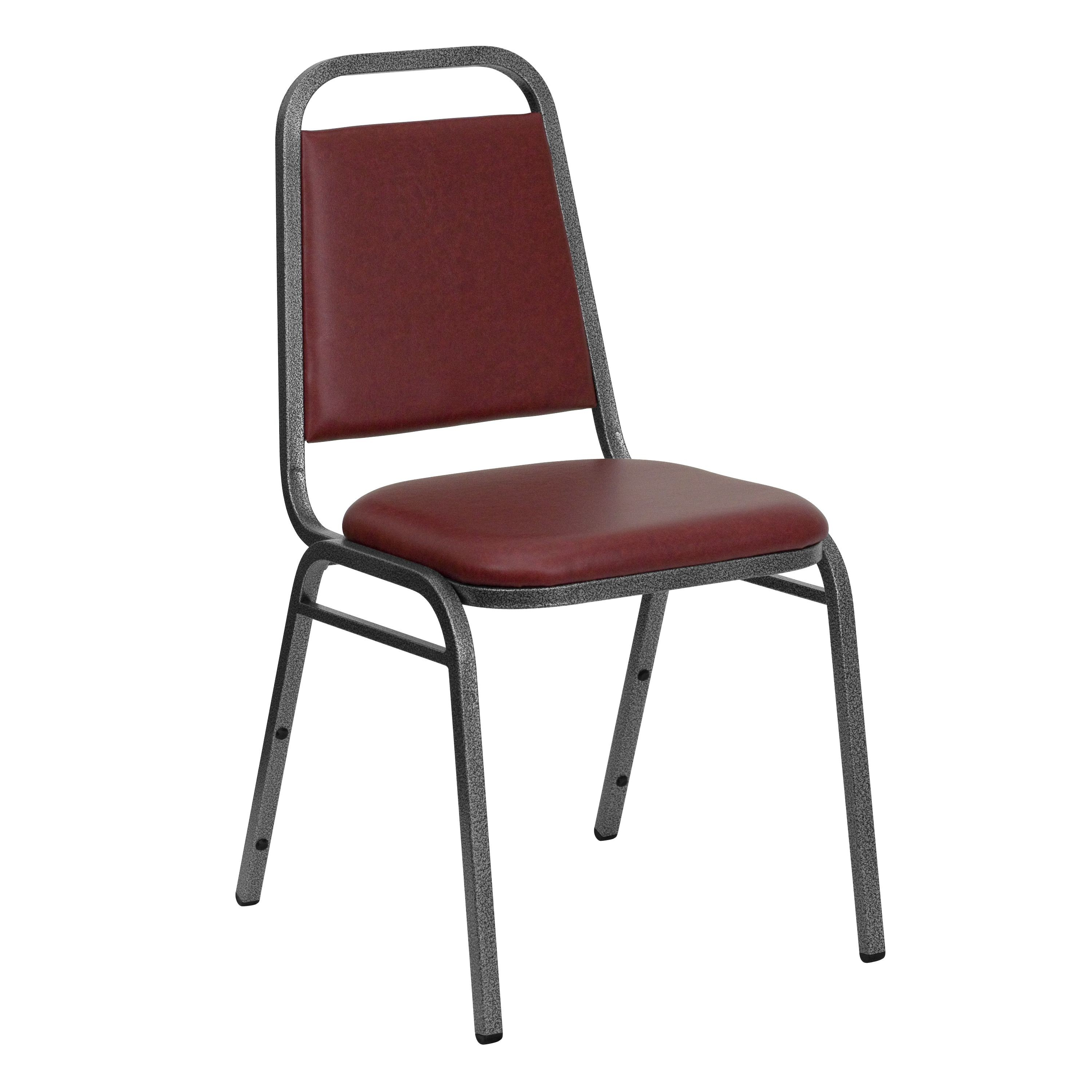 Flash Furniture FD-BHF-2-BY-VYL-GG HERCULES Series Trapezoidal Back Burgundy Vinyl Stacking Banquet Chair with Silver Vein Frame