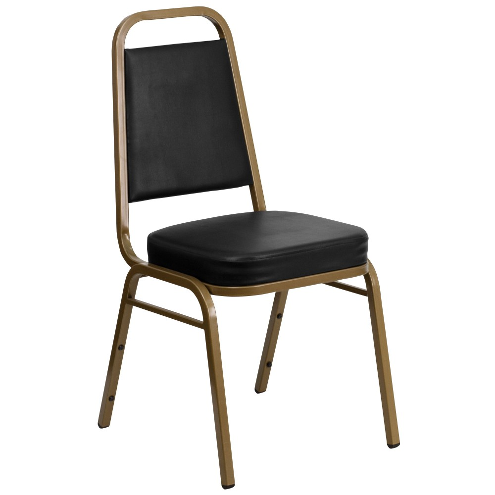 HERCULES Series Trapezoidal Back Stacking Banquet Chair with Black Vinyl and 2.5'' Thick Seat - Gold Frame