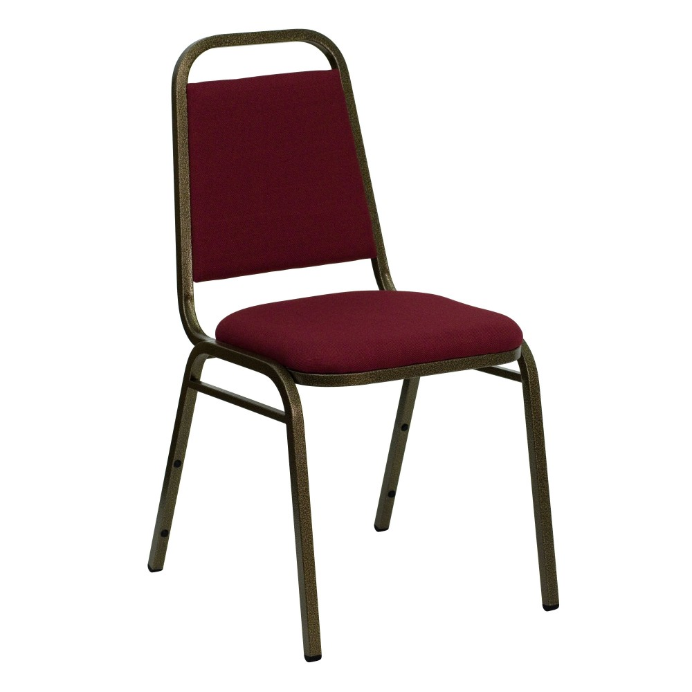 Flash Furniture FD-BHF-2-BY-GG HERCULES Series Trapezoidal Back Stacking Banquet Chair with Burgundy Fabric/ Gold Vein Frame