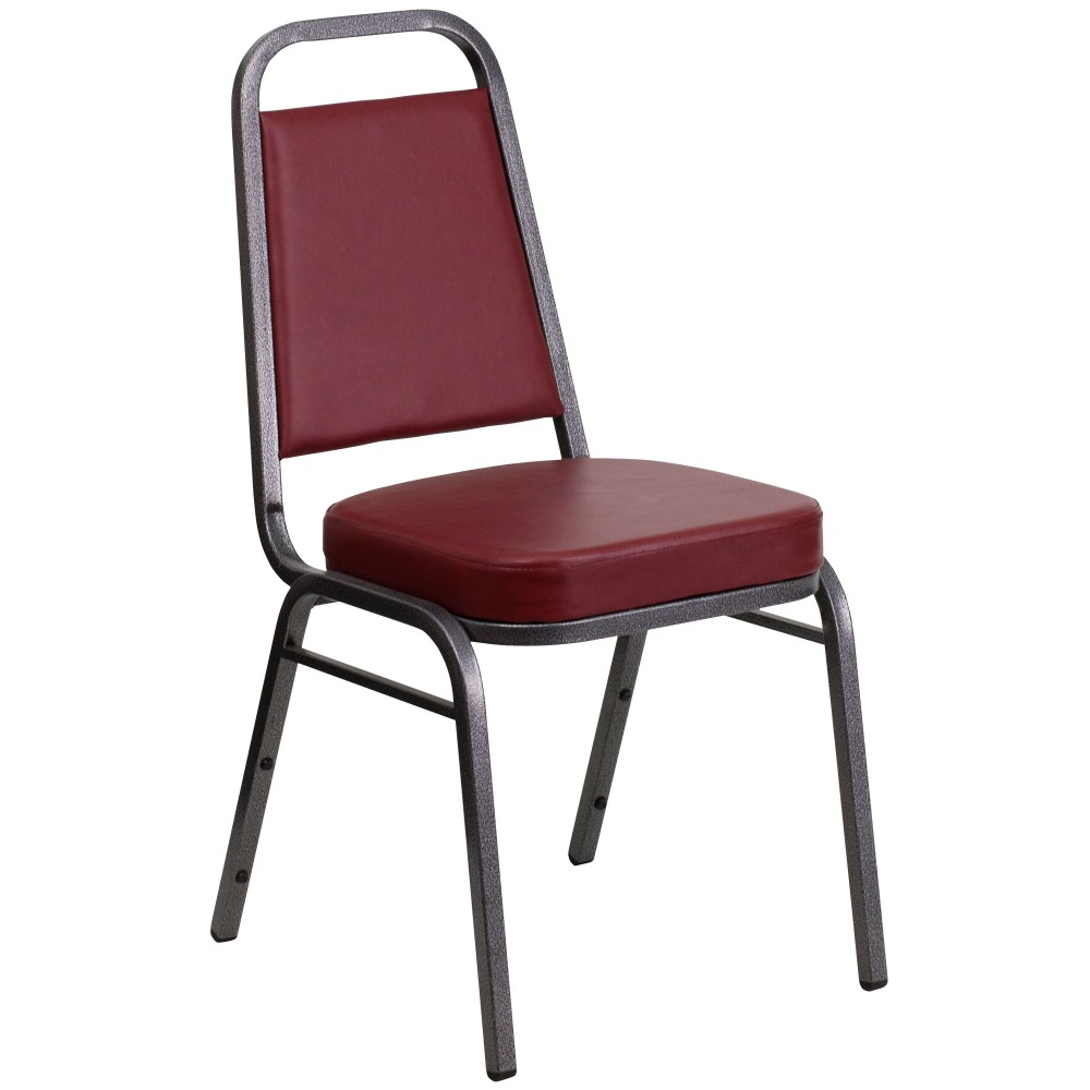 Flash Furniture FD-BHF-1-SILVERVEIN-BY-GG HERCULES Series Trapezoidal Back Stacking Banquet Chair with Burgundy Vinyl/Silver Vein Frame