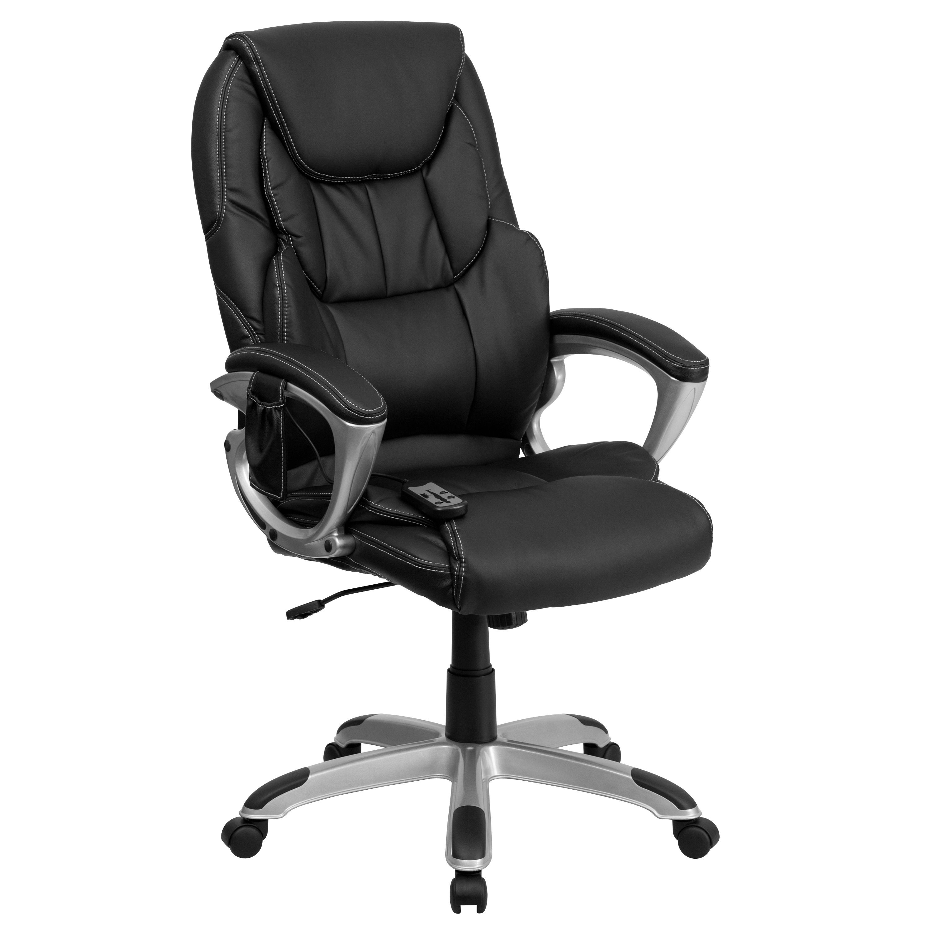 Flash Furniture BT-9806HP-2-GG High Back Massaging Black Leather Executive Office Chair/Silver Base