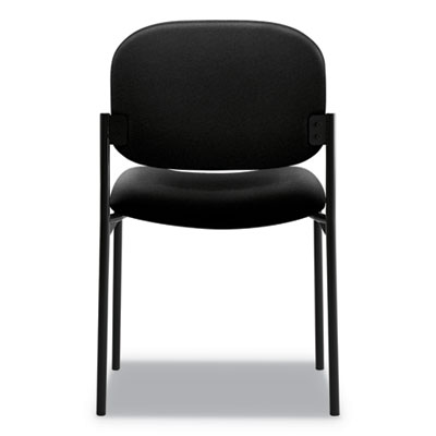 HON VL606 Black Leather Armless Stacking Guest Chair