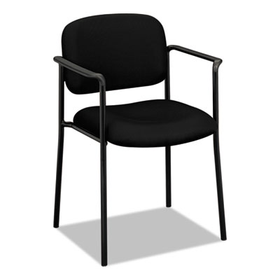HON VL616 Scatter Black Leather Stacking Guest Chair with Arms