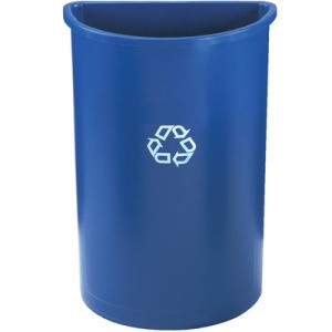 Half-Round Recycling Container, Plastic, 21 gal, Blue