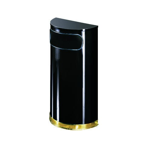 Half Round Space Saver Receptacle with Mirror Brass