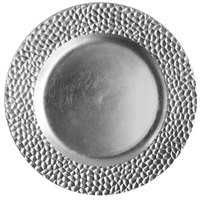 "Jay Companies 1182764 Hammered Silver Melamine 13"" Charger Plate"