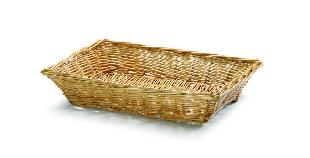 Hand-woven Rectangular Willow Basket - 14-1/4