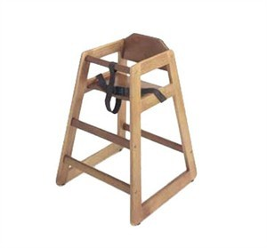 G.E.T. Enterprises HC-100W-2 Walnut Finish Hardwood High Chair - Assembled