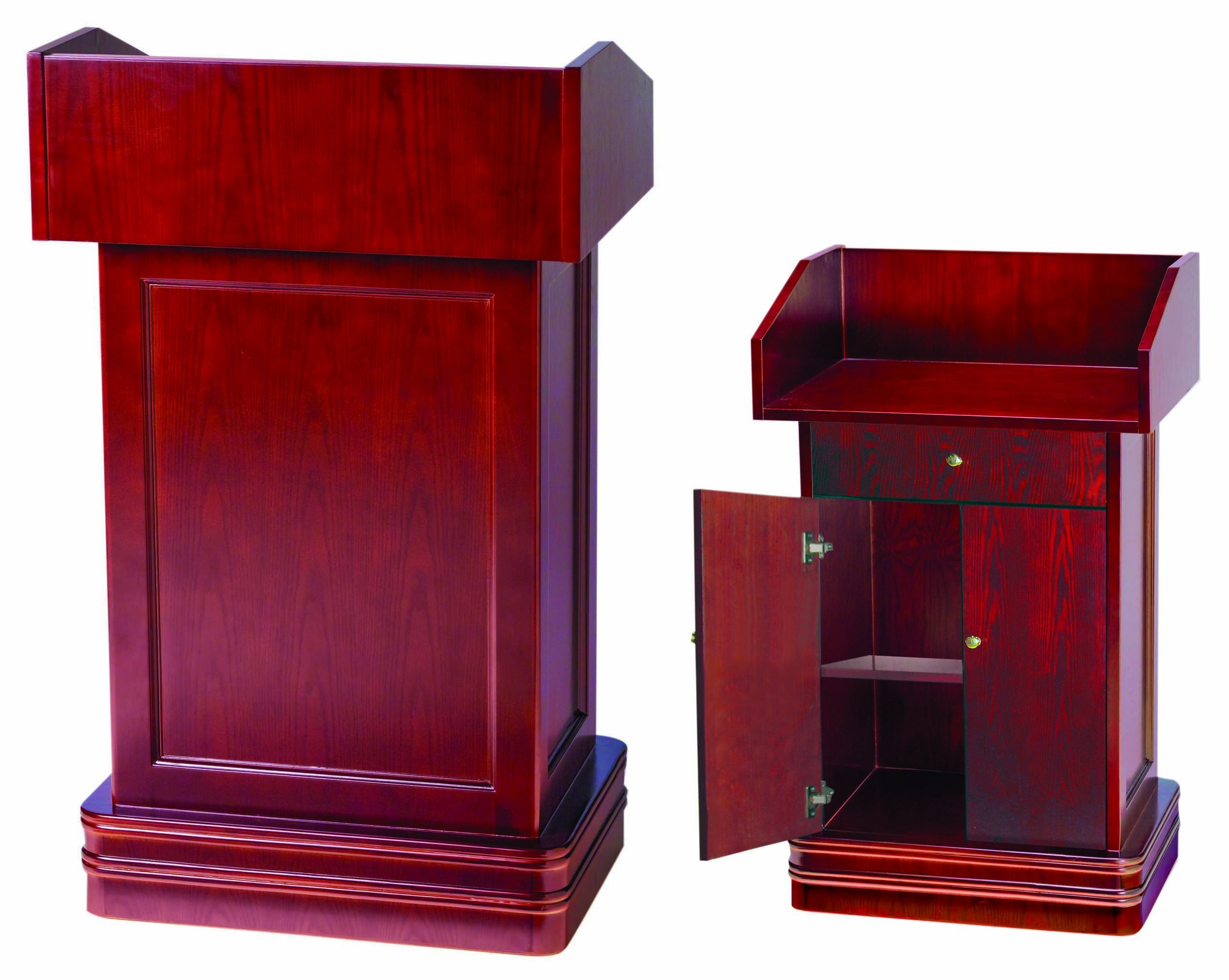 Hard Wood Cherry Finish Podium 2 with Adjustable Shelf and Doors