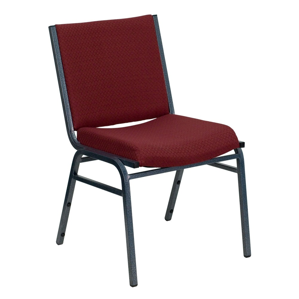 Heavy Duty, 3'' Thickly Padded, Burgundy Patterned Upholstered Stack Chair