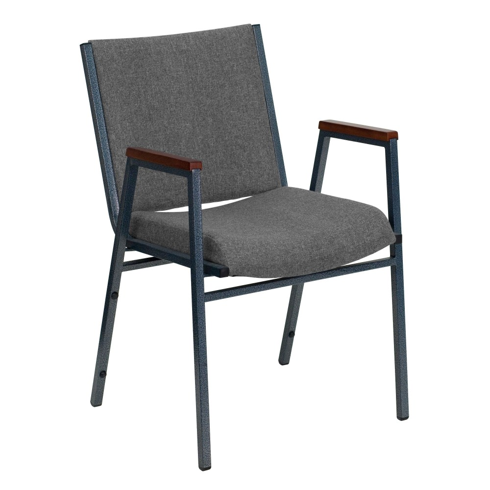 Flash Furniture XU-60154-GY-GG Heavy Duty, 3'' Thickly Padded, Gray Fabric Upholstered Stack Chair with Arms