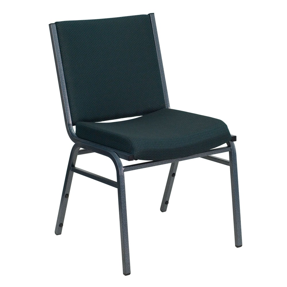Flash Furniture XU-60153-GN-GG Heavy Duty, 3'' Thickly Padded, Green Patterned Upholstered Stack Chair