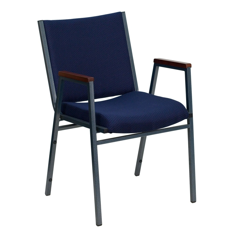 Heavy Duty, 3'' Thickly Padded, Navy Patterned Upholstered Stack Chair with Arms