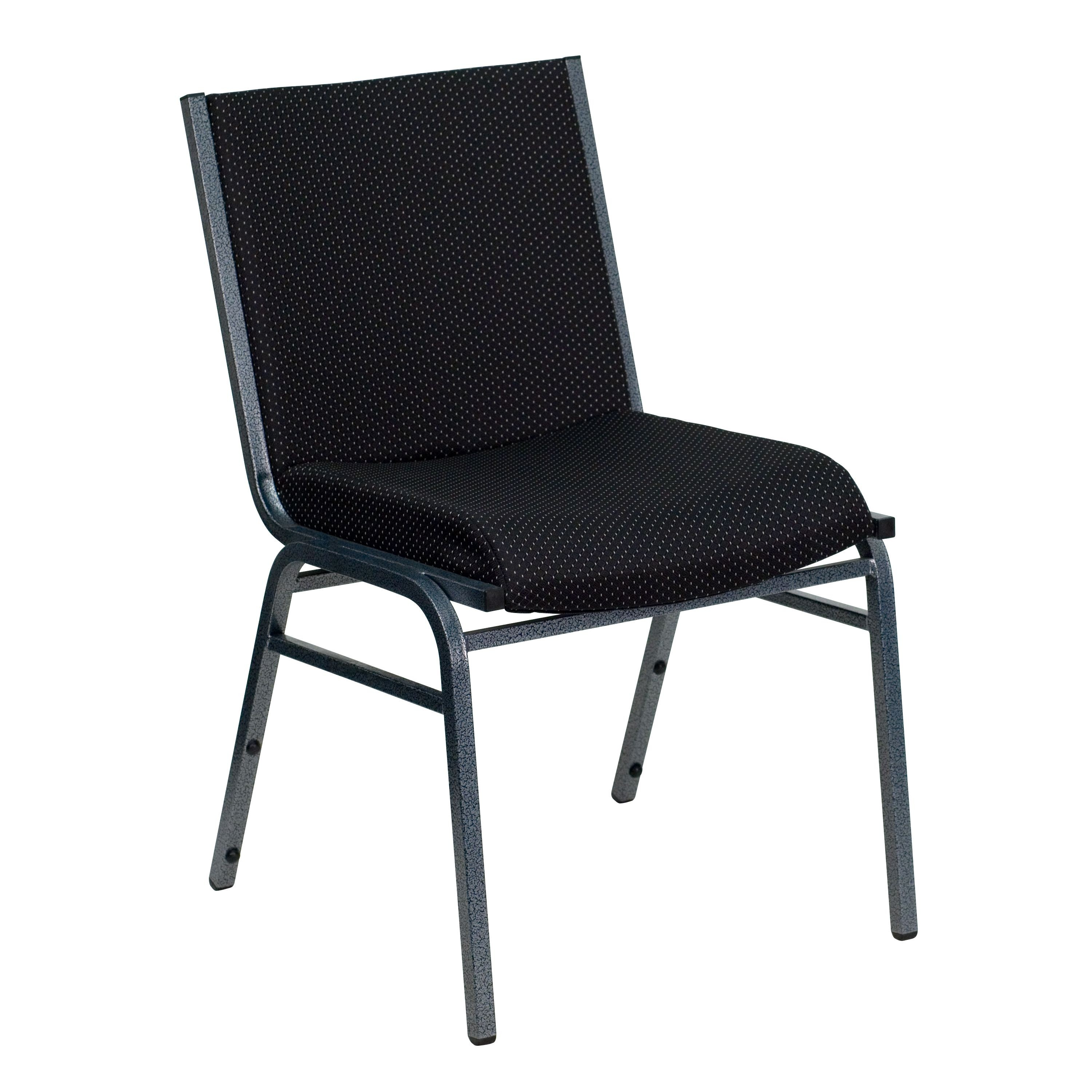 Flash Furniture xu-60153-BK-gg Heavy Duty, 3'' Thickly Padded, Black Patterned Upholstered Stack Chair