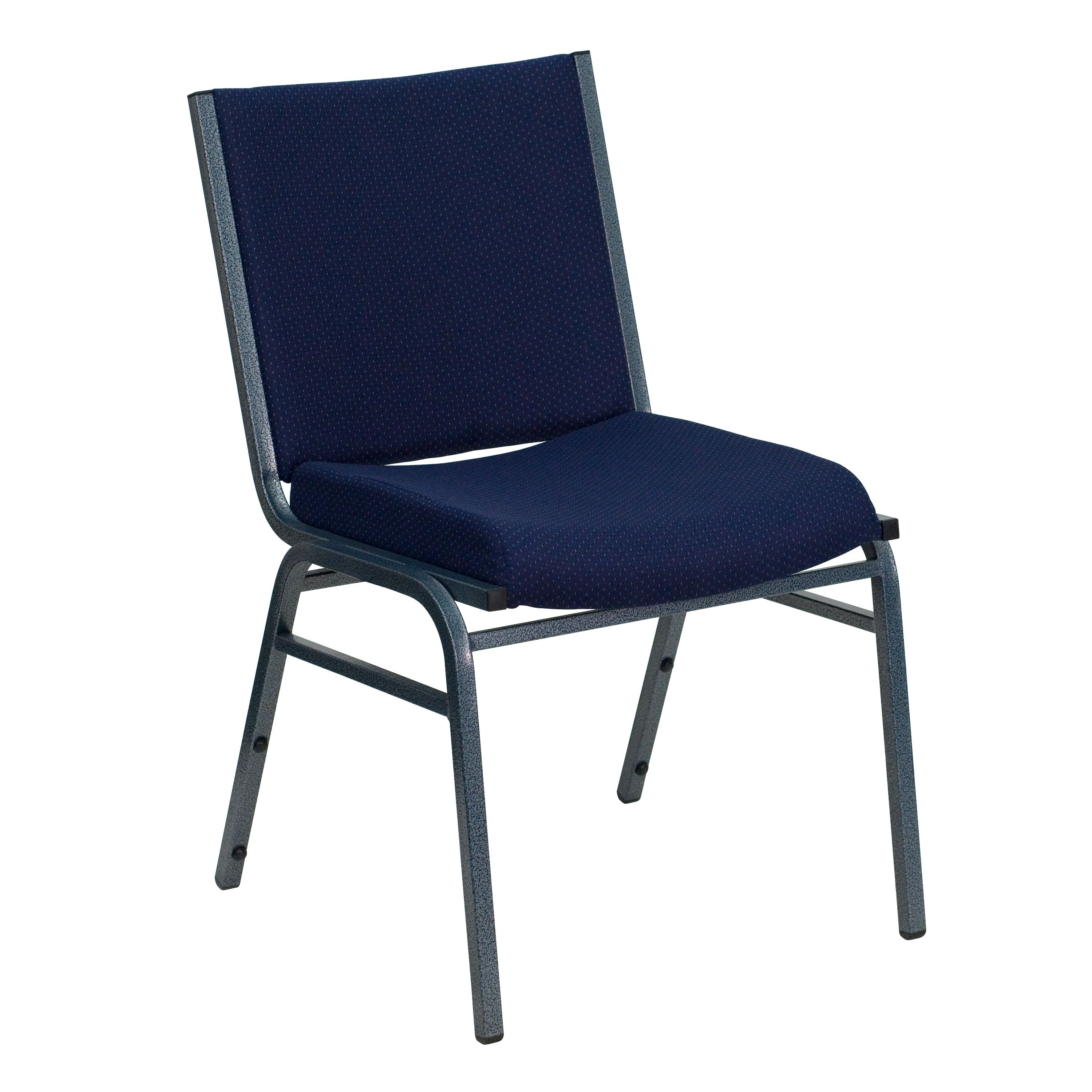 Flash Furniture XU-60153-NVY-GG Heavy Duty, 3'' Thickly Padded, Navy Patterned Upholstered Stack Chair