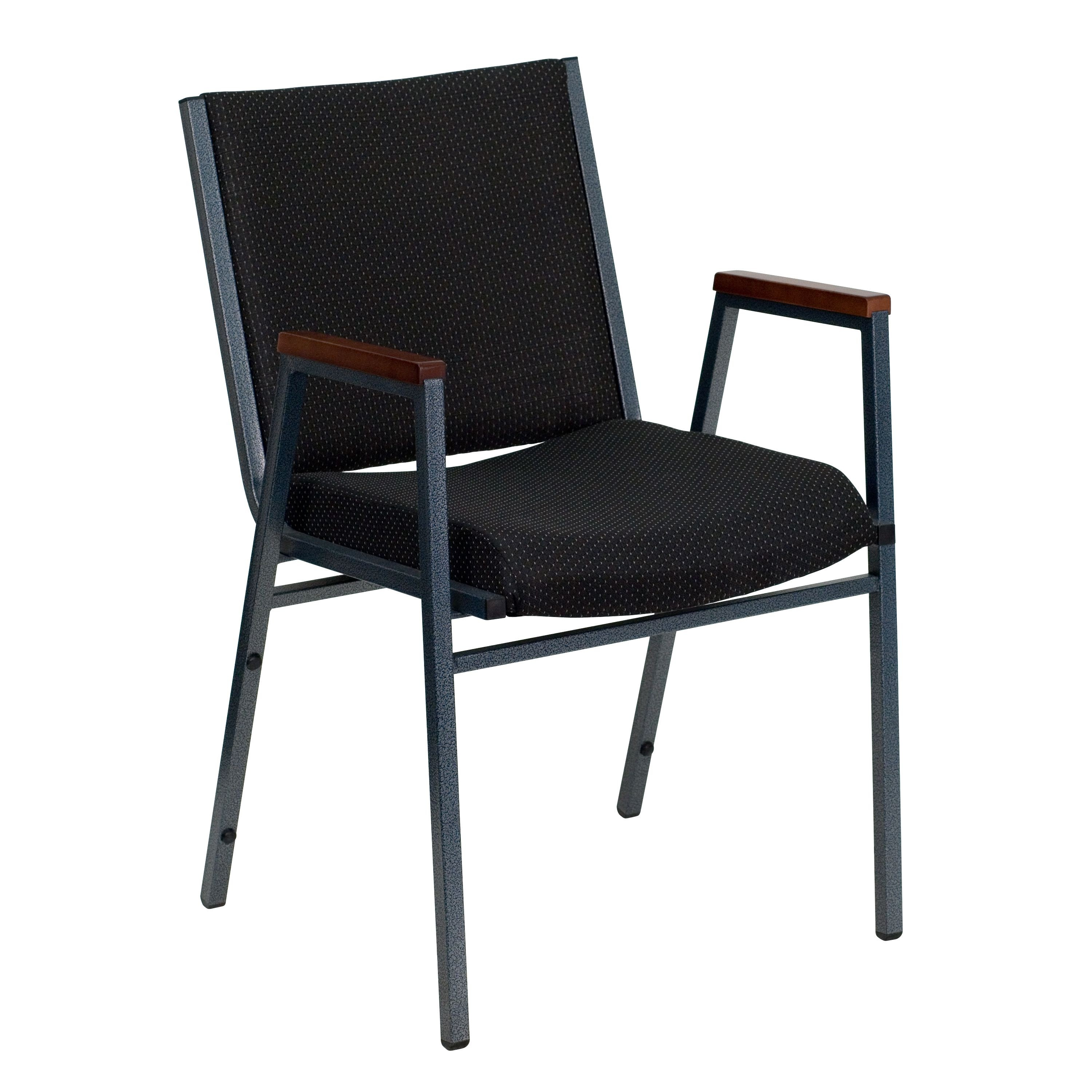 Flash Furniture xu-60154-BK-gg Heavy Duty, 3'' Thickly Padded, Black Patterned Upholstered Stack Chair with Arms