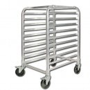 Winco ALRK-10BK 10-Tier Aluminum Pan Rack with Brakes