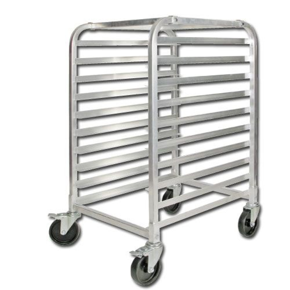 Heavy Duty 10 Tier Aluminum Pan Rack With Brake 38.75H (NSF)